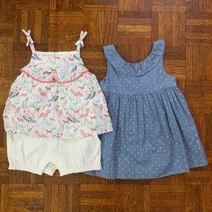 Gap 2 baby girl bundle dress & romper size 18-24m